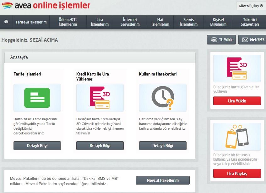 avea online işlem menüsü ilk ekran
